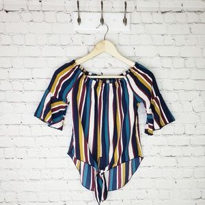 Papermoon striped tie front blouse